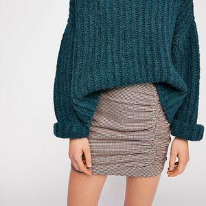 Free People NWOT Scrunch Plaid Mini Skirt